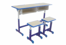 双人套管升降课桌凳