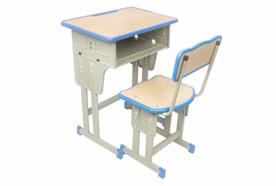 单人双柱单层课桌椅