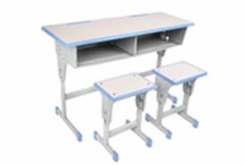 双人单柱单层课桌凳