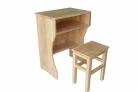 单人木质课桌椅