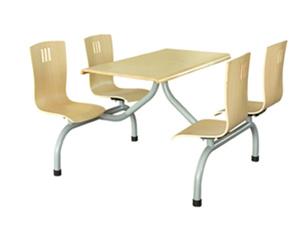 四位曲木椅圆管餐桌