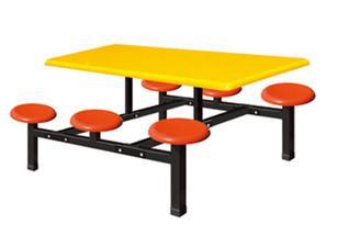 六位玻璃钢圆凳餐桌