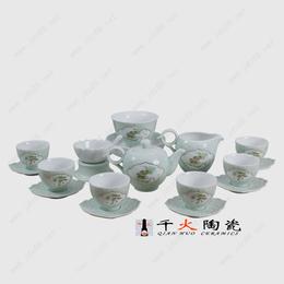 景德镇手绘青釉茶具套装批发厂家高档陶瓷茶具生产厂家