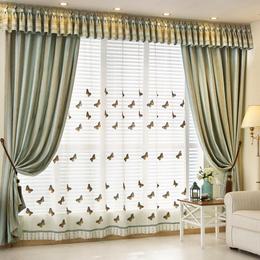 地中海现代条纹窗帘绣花纱帘卧室客厅阳台落地窗