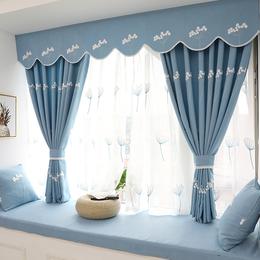 韩式田园遮光窗帘成品现代简约客厅卧室飘窗窗帘