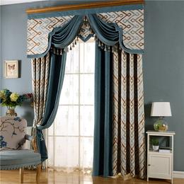 棉麻提花拼接遮光窗帘