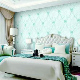 田园花卧室客厅沙发电视墙纸服装店铺面压纹壁纸