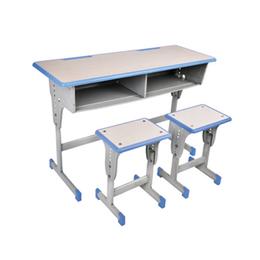 单柱双人升降学生课桌椅