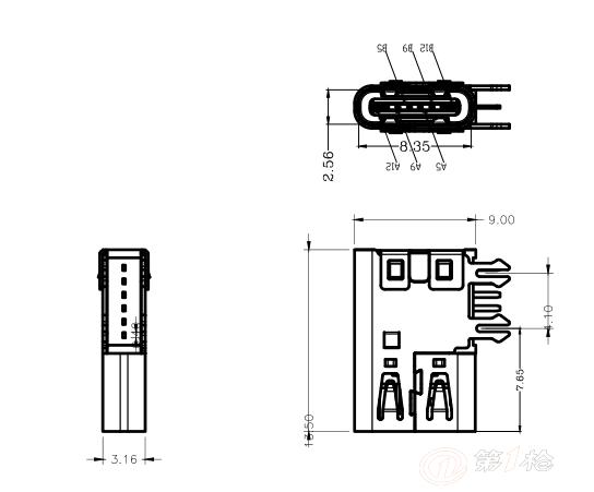 type-c侧插6p母座加高-type-c移动电源专用充电