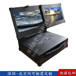 19寸双屏工业便携机工控一体机箱军工电脑加固笔记本视频采集
