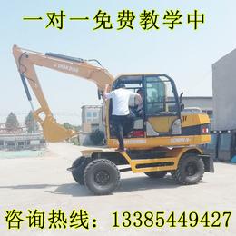 小型轮式挖掘机厂家全新价格型号 山鼎微型轮式挖掘机