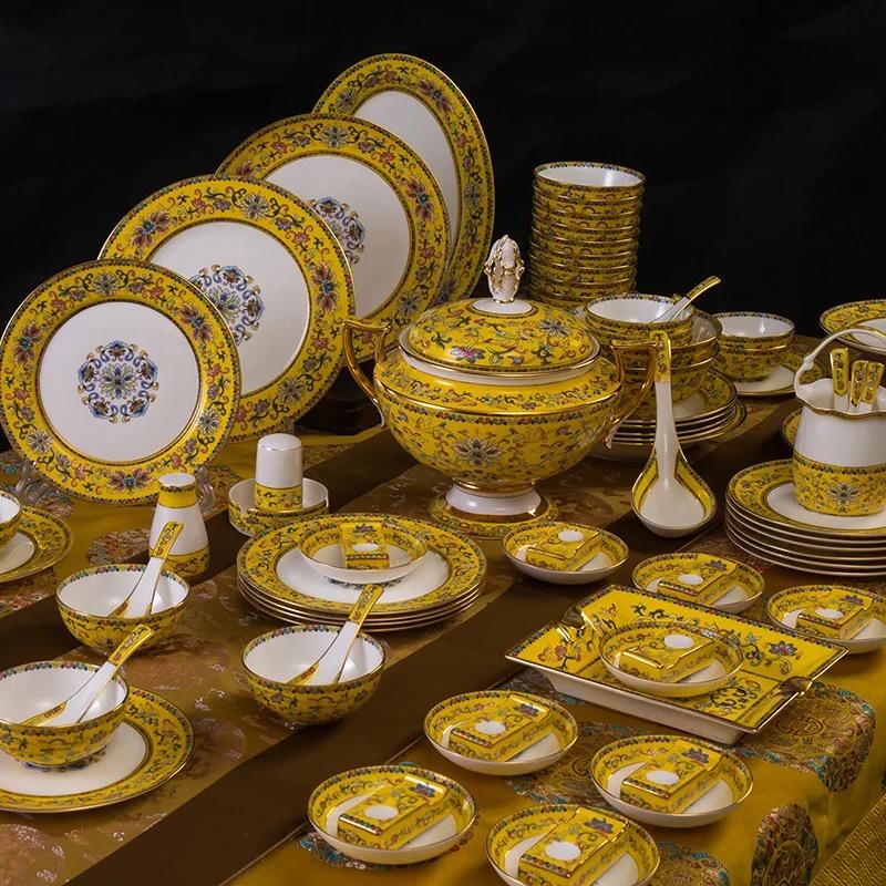 珐琅彩  高档景德镇描金奖杯煲骨瓷餐具碗碟套装古典宫廷家用86头餐具