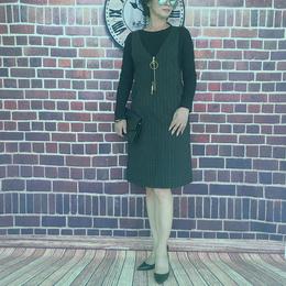 高档秋季条纹背带套装连衣裙