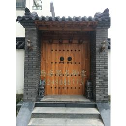 西安仿古大门尺寸-农村中式门价格-铜钉大门效果图