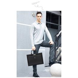 法国申派商务公文包男横款防盗单肩包15寸笔记本电脑手提包