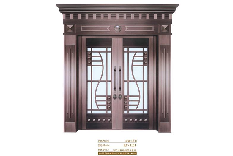 HT-6107玻璃材质 铜门