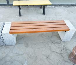 花岗岩防腐木长条石凳 公园石椅 户外庭院雕塑