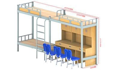 双联上下层三位楼梯桌柜组合床