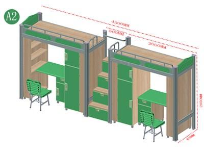 双联双人位中台梯桌柜组合床