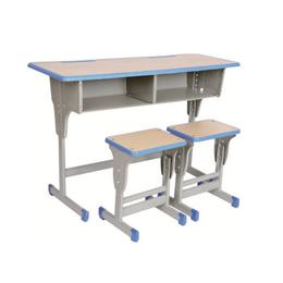HL-A1967注塑包边双人单柱单层课桌带小方凳