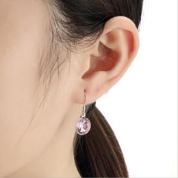 东莞饰品厂家生产供货流行耳环 欧美圆形紫色水晶不过敏耳饰