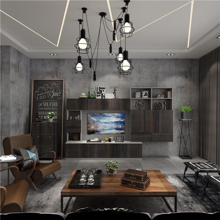 江西家具裝修 木質灰色沉穩客廳柜
