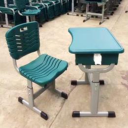2018新款绿色学校课桌椅 塑钢桌椅厂家直销