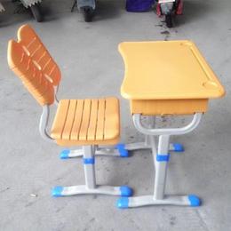 学生学校家用升单人黄色降课桌椅