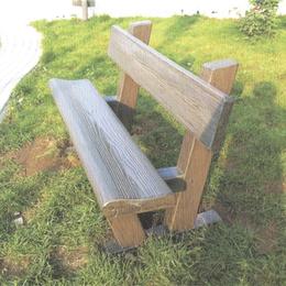 校园草坪 仿木长椅