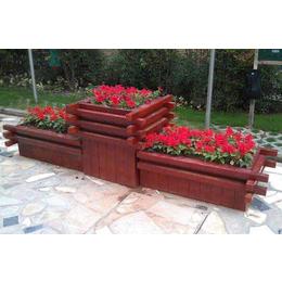 防腐木花盆碳化景观组合花箱