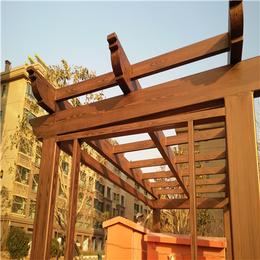 仿木纹漆厂家河北景区公园方钢廊架做仿木纹河南广之源施工团队