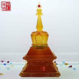 古法琉璃厂琥珀色琉璃菩提塔如来八塔装藏琉璃舍利塔佛塔佛教用品