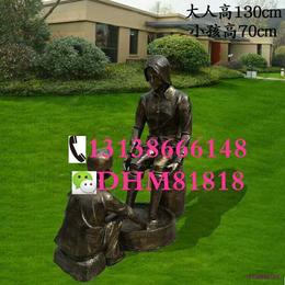玻璃钢雕塑二十四孝主题仿铸铜捶背造型婆孙人物洗脚民俗铜雕小品