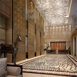 酒店装饰不锈钢屏风隔断玫瑰金不锈钢花格通花