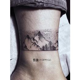 点刺树林脚踝纹身缩略图