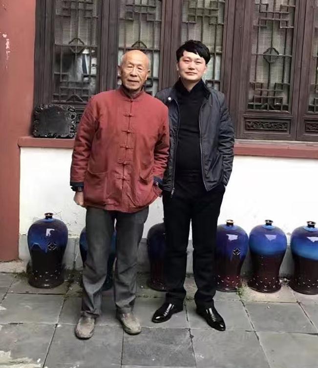 景盛瓷业总经理与中国工艺美术大师刘远长老师的合影