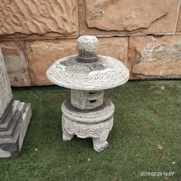青石日式石灯笼圆形灯庭园石雕石灯龛摆件