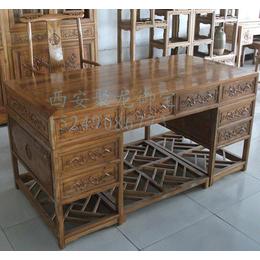 西安仿古办公桌尺寸价格-实木红木厂家-中式办公桌效果图