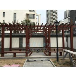 西安仿古廊架定做-防腐木廊架价格-实木花架效果-户外花廊架