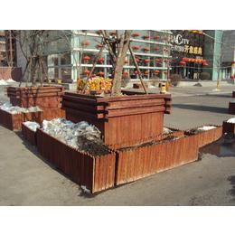 厂家销售街道防腐木组合花盆