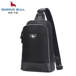 申派bull法国男士胸包防盗休闲斜跨单肩包韩版大容量牛皮背包