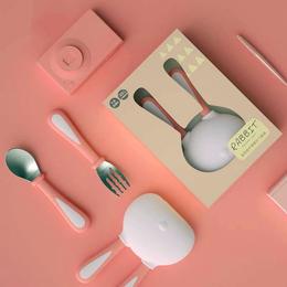 雪卡儿兔宝宝叉勺套装儿童餐具不锈钢叉勺新生儿辅食勺吃饭叉勺