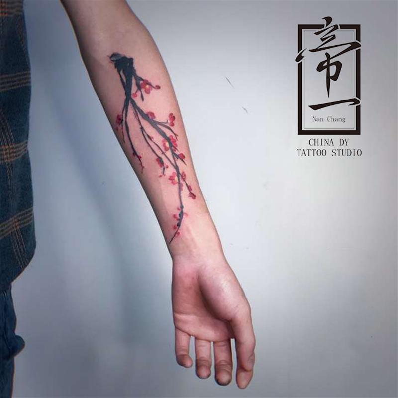 水墨 桃花 植物 纹身