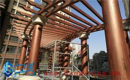 承德办公楼钢管护栏做仿木纹 唐山铁方管广告标识牌做仿木纹