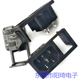 东莞厂家直销黑色AC带开关品字插座二合一电源插座