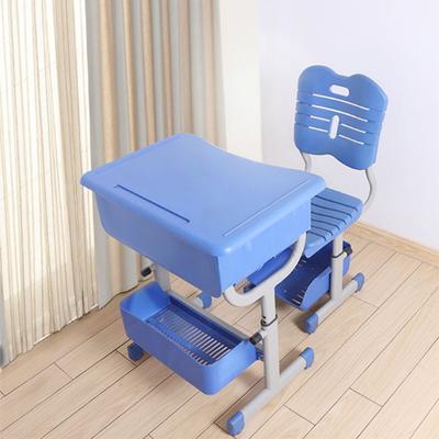 中小学生课桌单人单柱旋钮升降课桌椅