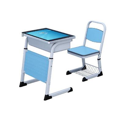 单人C型单层套管升降液晶显示屏课桌椅
