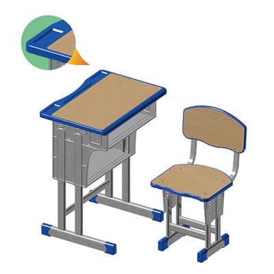双柱双层外升降多层板课桌椅