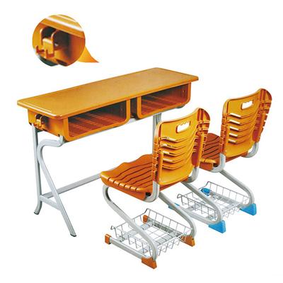 中小学双人R型塑料课桌椅