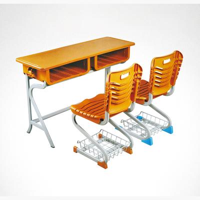中小学双人R型固定塑料课桌椅